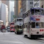 Imagem de bondes na cidade de Hong Kong